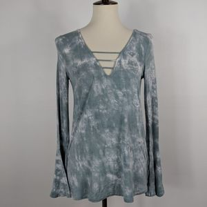 American Eagle Soft Sexy Tie Dye Bell Sleeve Top